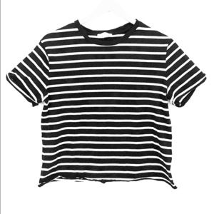 Aritzia Community Striped Black White Crop T-Shirt